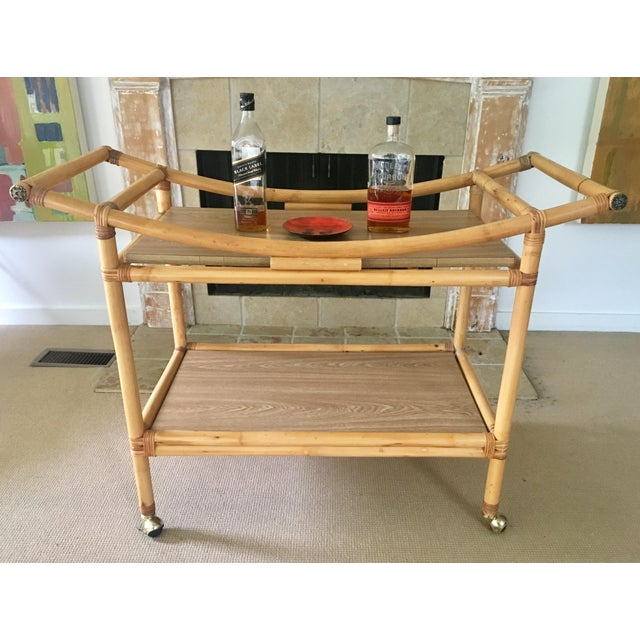 Bamboo Mid-Century Bamboo Bar Cart For Sale - Image 7 of 10