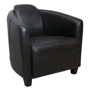 Classic Leather Tub Chair in Black Finish For Sale