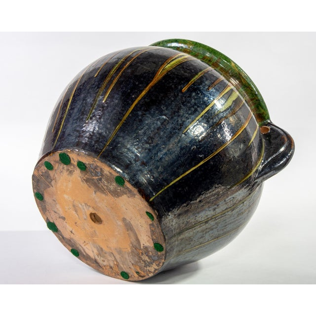 Large European Drip Glaze Black Ceramic Pot For Sale - Image 10 of 11