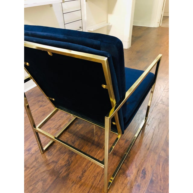 Blue Vintage Mid Century Velvet Accent Chair For Sale - Image 8 of 9