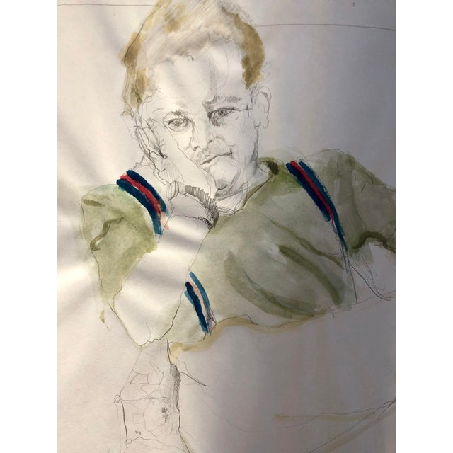 Portraiture Vintage Drawing of a Man in Suspenders For Sale - Image 3 of 4