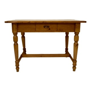 Pine and Beech Stretcher Base Writing Table For Sale