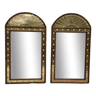 Pair of Sarreid Brass & Pine Mirrors, Italy For Sale