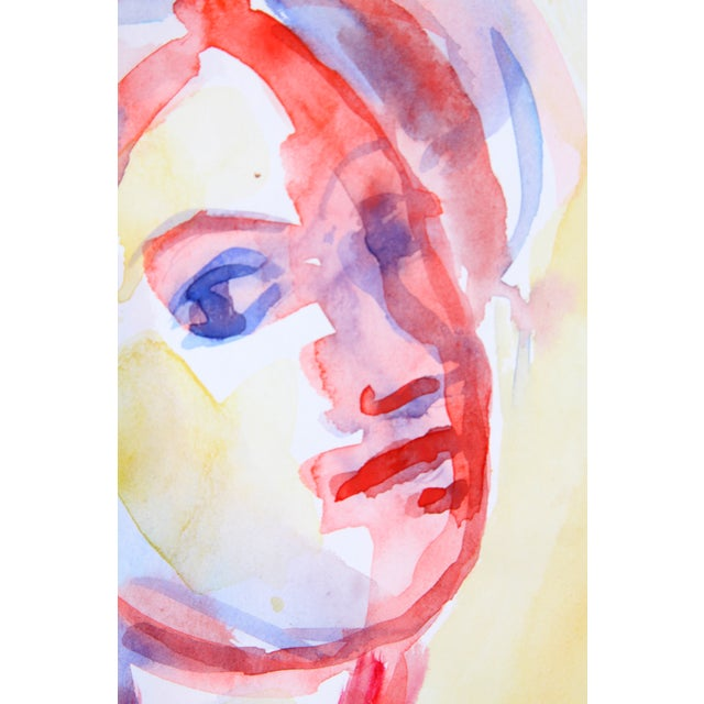 Red & Yellow Watercolor Portrait of Woman - Image 3 of 4