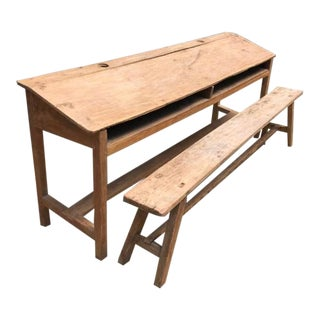 Antique Rustic Double Desk with Bench - 2 Pieces For Sale