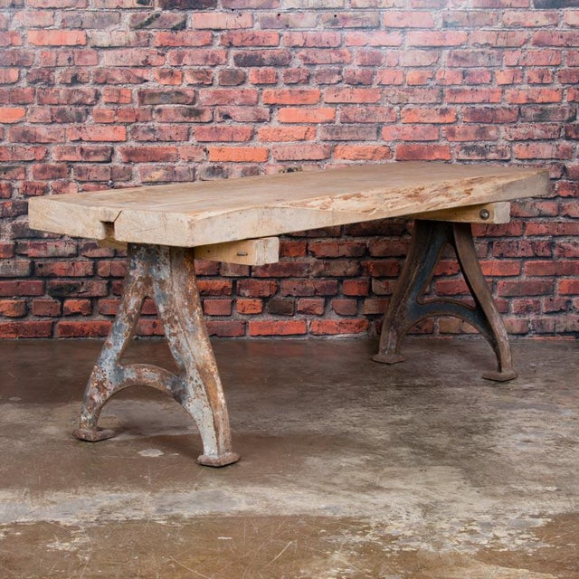 1920s Rustic Wood Console Table With Industrial Cast Iron Legs For Sale - Image 4 of 8