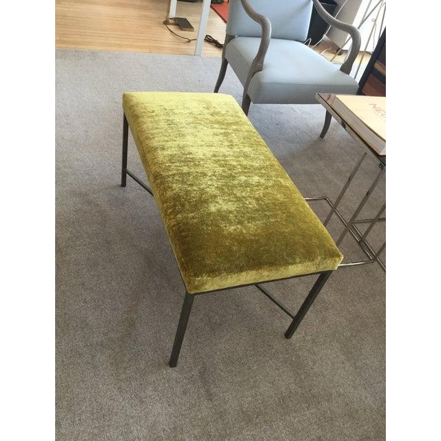Custom Chartreuse Velvet Upholstered Bench - Image 4 of 6