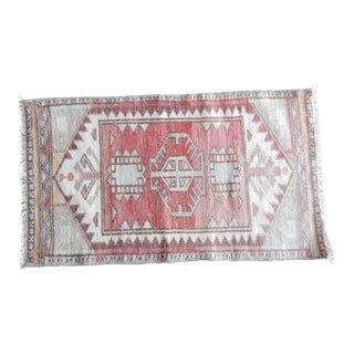 Turkish Antique Small Handmade Traditional Door Mat Small Rug- 1′6″ × 2′7″ For Sale