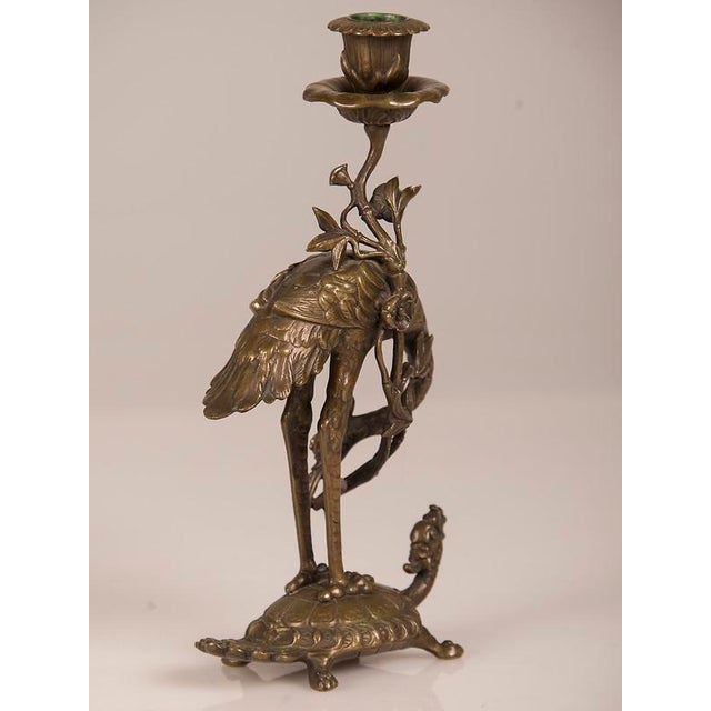 Bronze Bronze Crane on Turtle Pair Candlesticks, France c.1840 For Sale - Image 7 of 11