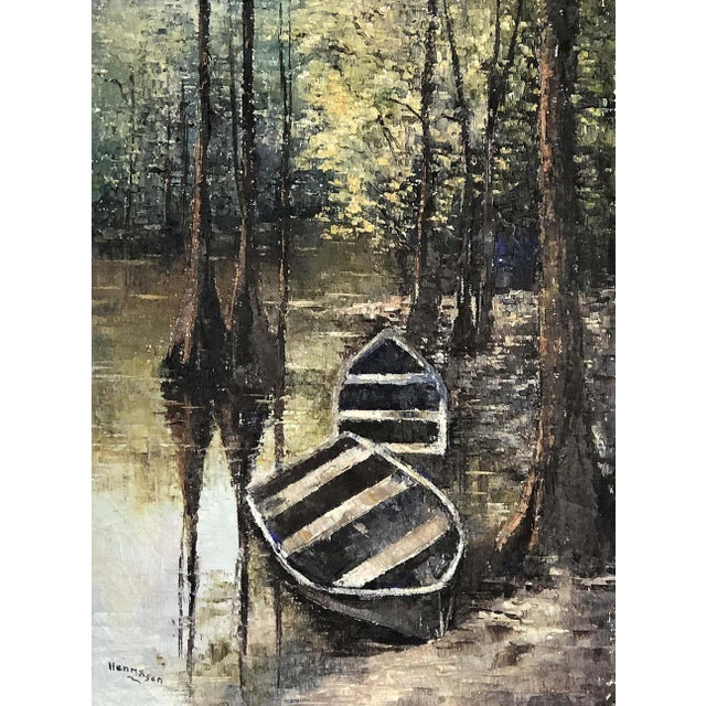 1950s Everglades Oil Painting Signed Hermansen on Canvas For Sale In Miami - Image 6 of 7