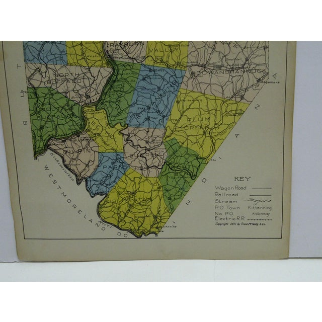 1910s Vintage Rand McNally 1911 Color Map of Armstrong County Pennsylvania For Sale - Image 5 of 7