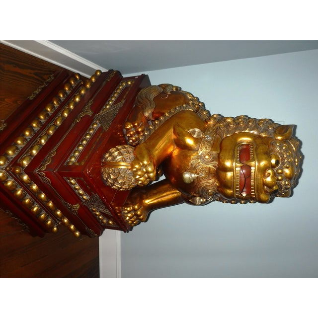 5 Feet Tall Hand Carved Wooden Foo Dogs - Pair For Sale - Image 5 of 8