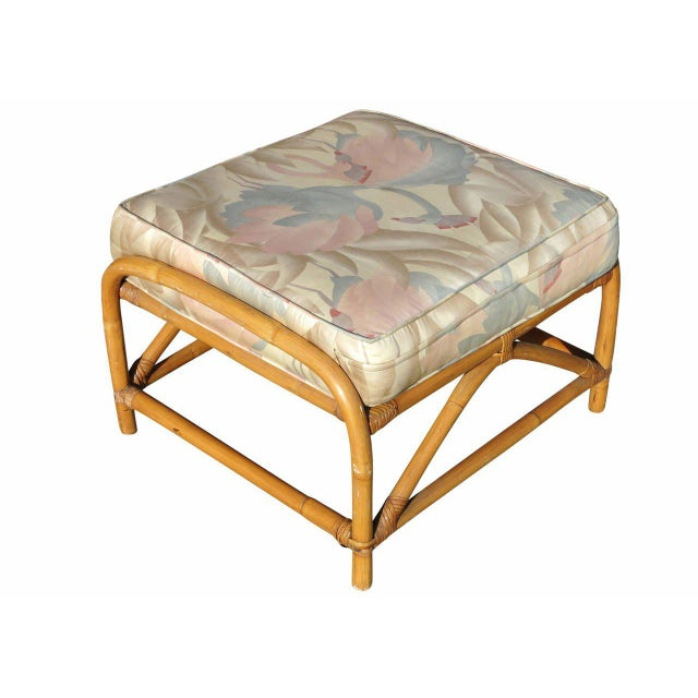 Restored Pretzel Arm Rattan Rocking Chair & Ottoman For Sale - Image 9 of 9