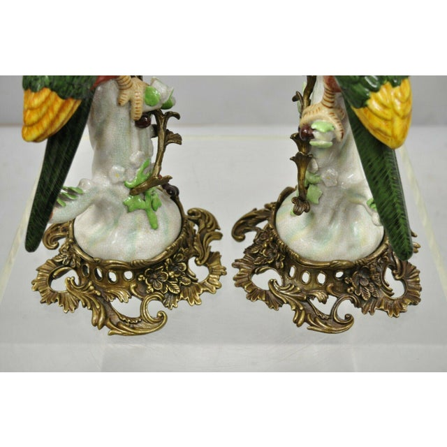 French Green & Yellow Parrot Candlestick Candle Holders-a Pair For Sale In Philadelphia - Image 6 of 11
