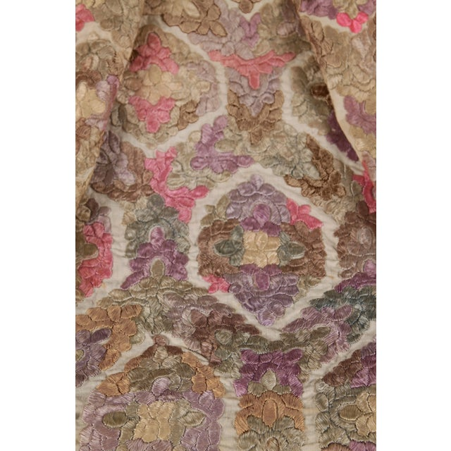 An antique embroidered damask fabric piece. This beautiful embroidered damask, circa 1880, was curated from a notable...