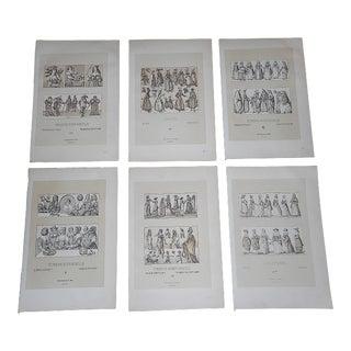 Antique 19th Century Lithographs-Women-Folio Size - Set of 6 For Sale