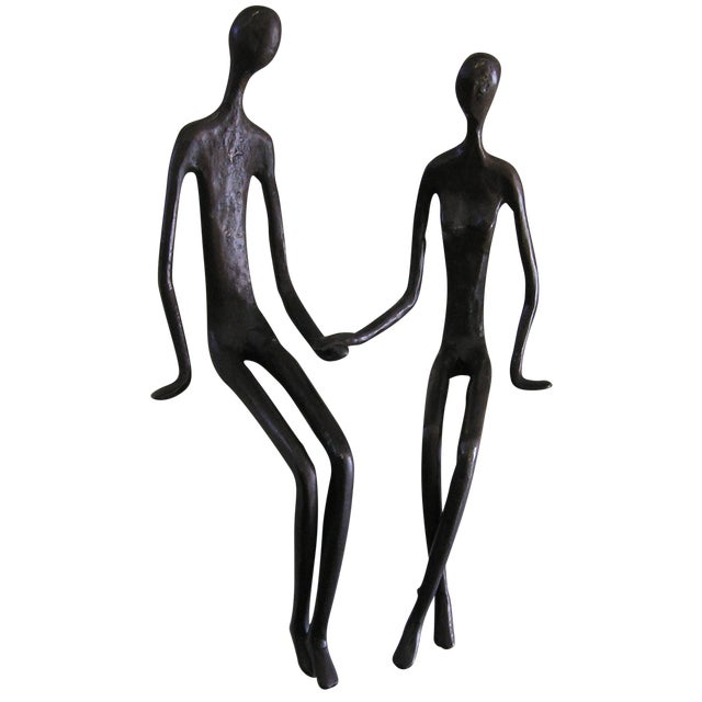 Bronze Sitting Couple - Image 1 of 3