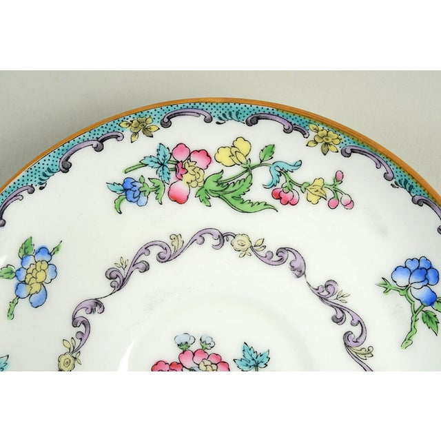 Minton Double Handled Footed Bowl and Saucer - Set of 6 For Sale - Image 12 of 13