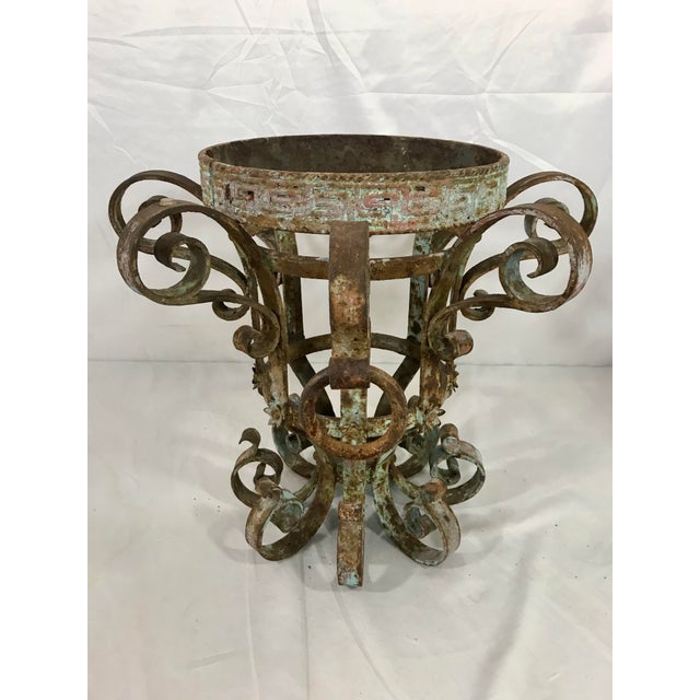 Gray Wrought Iron Fretwork Planters a Pair For Sale - Image 8 of 13