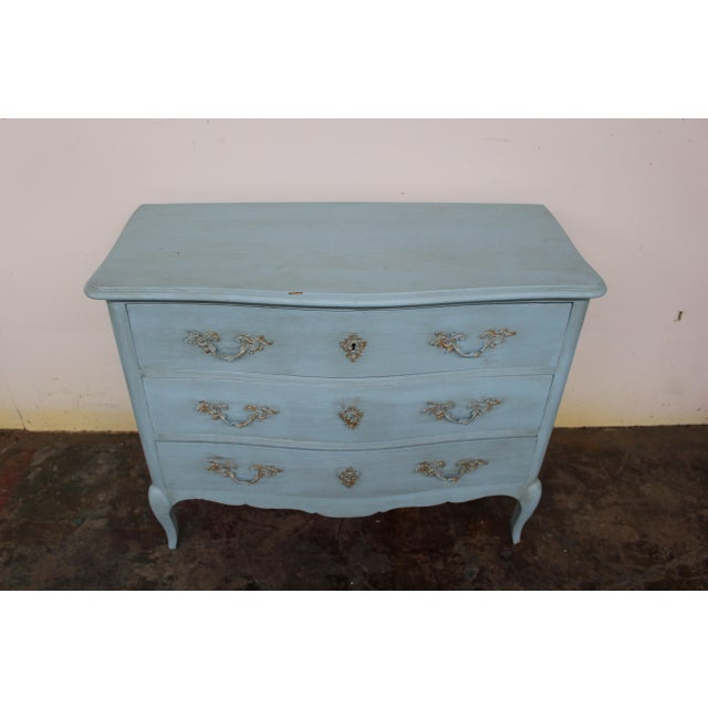 French 20th Century Vintage Painted Blue Commode For Sale - Image 3 of 9