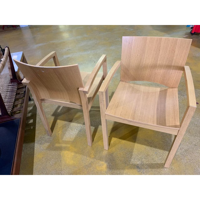 Cassina 1980s Italian Cerused, Rift-Sawn White Oak Accent / Dining Arm Chairs, a Pair For Sale - Image 4 of 13