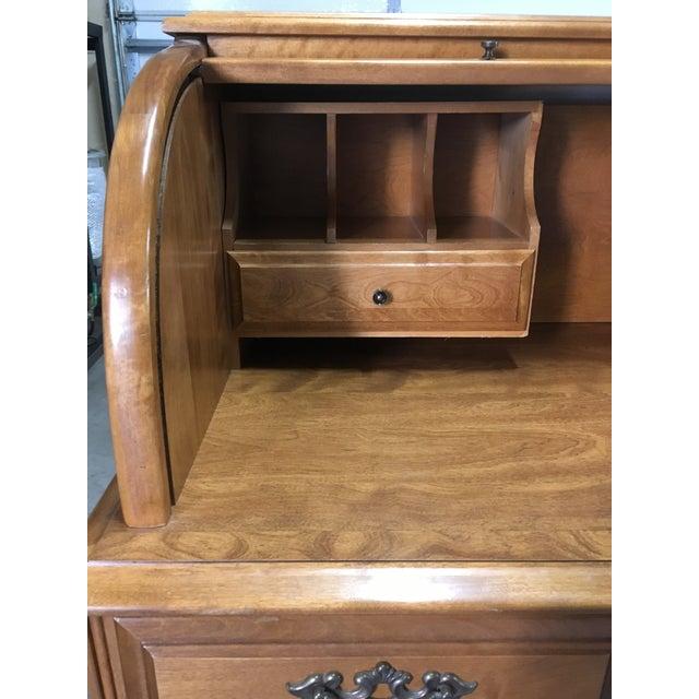 Brown Vintage Traditional Oak Roll Top Desk For Sale - Image 8 of 10
