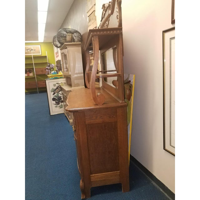 Antique Oak Sideboard Buffet With Mirror For Sale - Image 9 of 13