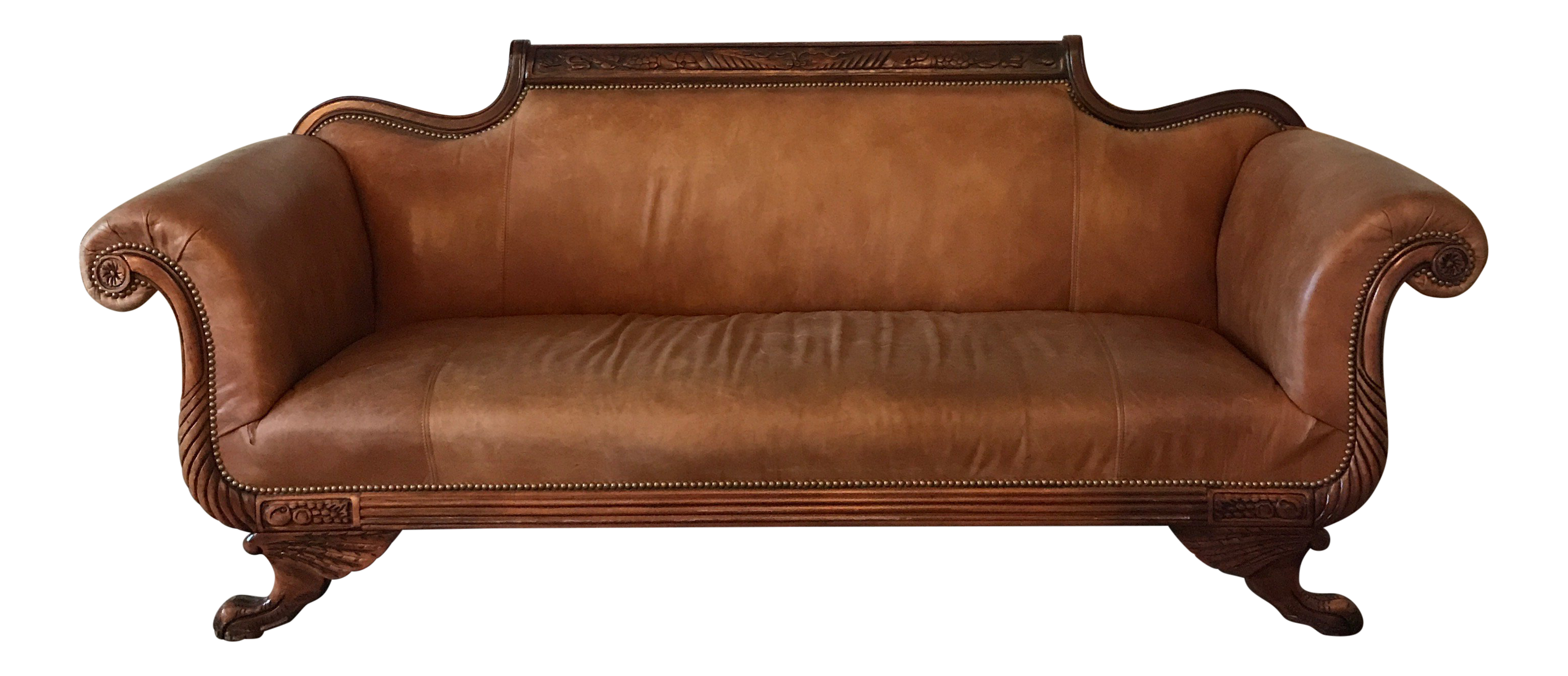 Duncan Phyfe Style Vintage Leather Sofa Chairish