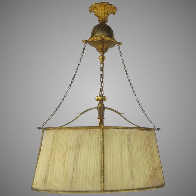 French Oval Four Light Gilt Bronze Ormolu Chandelier For Sale - Image 9 of 9
