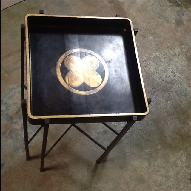 Tray from 1930s, with beautiful gilt detailing in great vintage condition with new custom base. Tray lacquered in 24K...