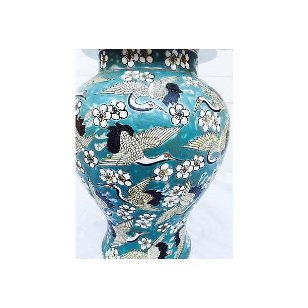 Blue Oriental Crane & Flower Jar - Image 5 of 5