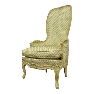 Vintage Hollywood Regency French Louis XV Cream Green High Back Lounge Arm Chair For Sale