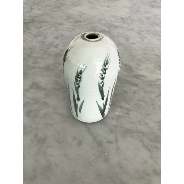 1970s 1970s Folk Art White Ceramic Bud Vase For Sale - Image 5 of 5