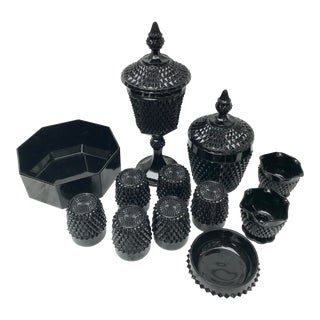 Collection Vintage Indiana Glass Black Cameo by Tiara Hobnail - 12 Pieces For Sale