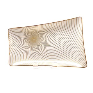 1960s Mid-Century Modern Spiral Swirl Gold Filagree on Opaque White Bent Glass Platter For Sale