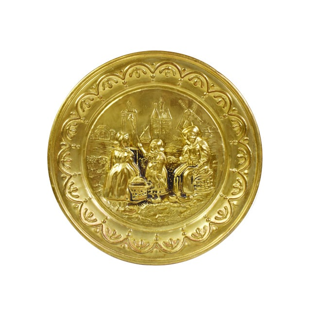 Mid 20th Century Vintage England Scene Embossed Brass Wall Hanging Tray Plate, England - 5 Pieces For Sale - Image 5 of 12