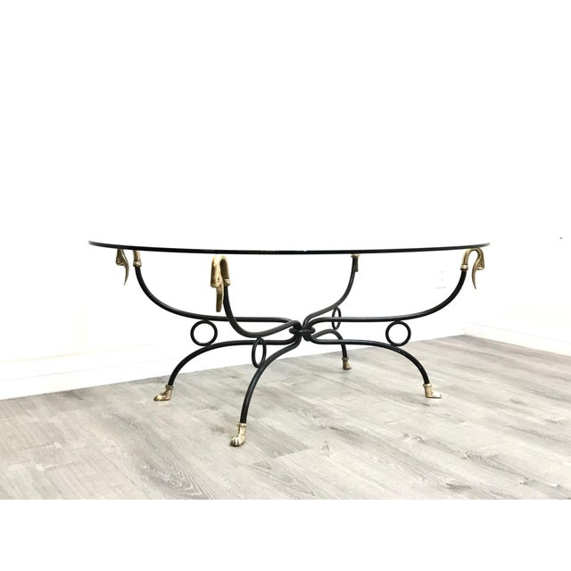 Hollywood Regency Brass & Iron Glass Top Coffee Table For Sale - Image 11 of 11