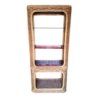 Vintage Tall Rattan 3 Smoked Glass Etagere Curio Shelf Cabinet For Sale