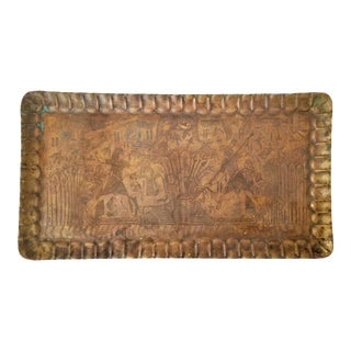 Mid-Century Egyptian Etched Brass Tray For Sale
