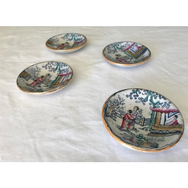Chinoiserie Sushi / Soy Sauce Dish, Set of 4 For Sale - Image 9 of 11