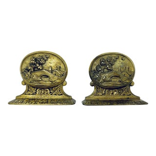 Antique Brass Bookends - a Pair For Sale