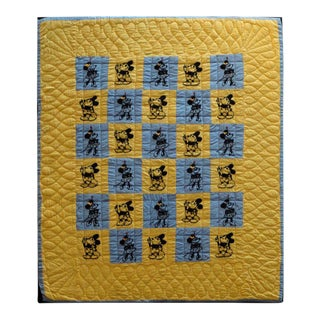 Mounted Folky and Rare Mickey & Minnie Mouse Crib Quilt