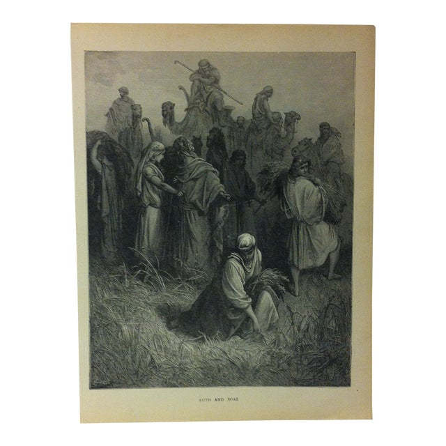 "Antique Gustave Dore Illustrated Print on Paper, ""Ruth and Boaz"", 1901 For Sale"