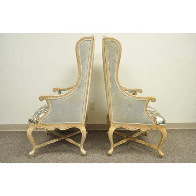 Pair of Hollywood Regency French Country Carved Wing Back Fireside Lounge Chairs - Image 4 of 11