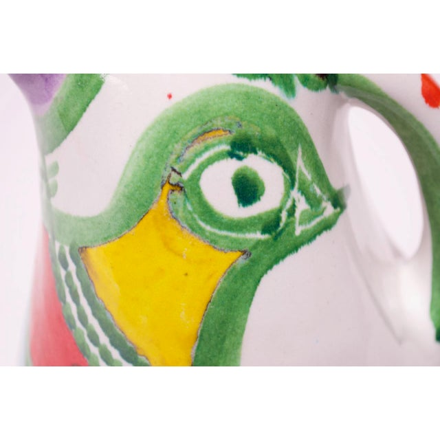 "Hand Painted Italian Ceramic ""Bird"" Pitcher / Wine Decanter by Desimone For Sale - Image 11 of 13"