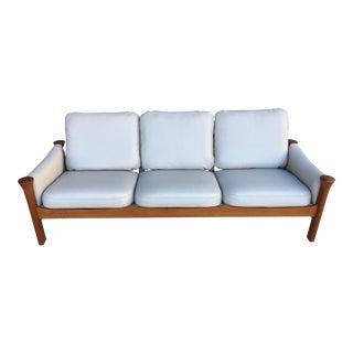 1960s Vintage Arne Vodder for Cado Solid Teak and Leather Sofa For Sale