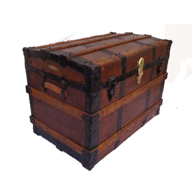 Industrial Antique Haines & Co. Box Trunk For Sale - Image 3 of 4