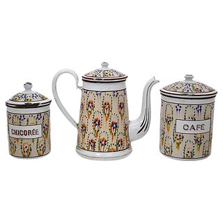 Antique French Enameled Metal Coffee Set For Sale