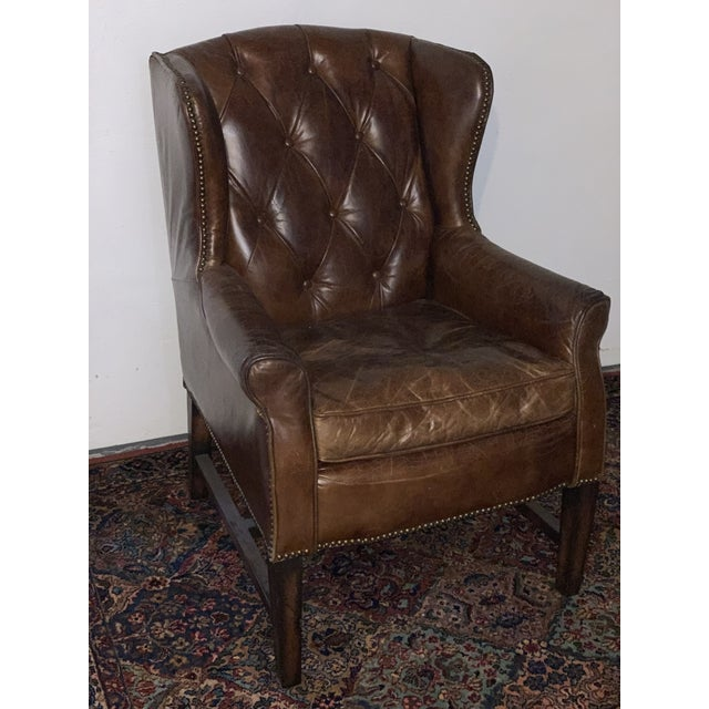 Traditional Modern Tufted Leather Wing Chair For Sale - Image 3 of 5