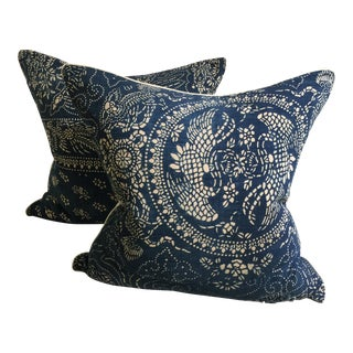 CB2 Boho Chic Blue and White Pillows - a Pair